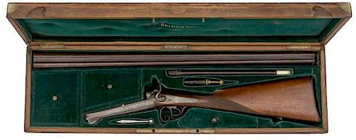 French Cased Pinfire Side-by-Side Shotgun with Accessories