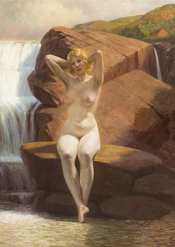 Wilhelm Pacht, (Danish, 1843-1912), Nude by Waterfall, 1908