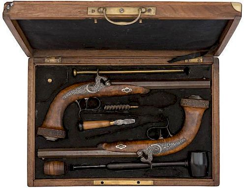 Cased Pair of Deluxe Percussion Pistols with Accessories