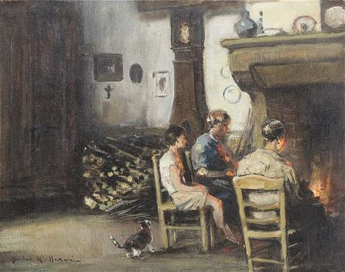 Jules Rene Herve, (French, 1887-1981), Around the Hearth