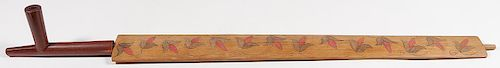 A PLAINS CATLINITE PIPE WITH STEM, 19TH C