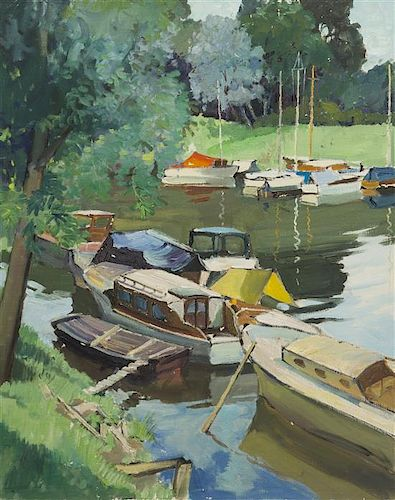 Constantine Kluge, (French, 1912-2003), A Quiet Harbor