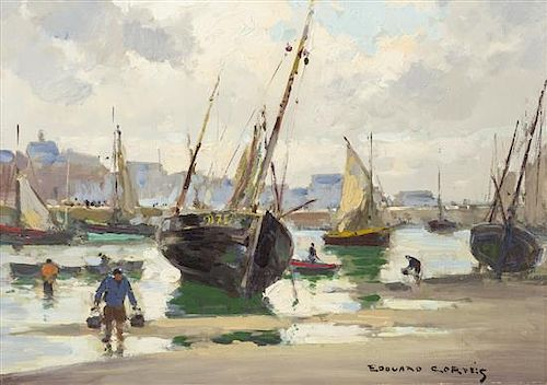 Edouard Leon Cortes, (French, 1882-1969), Harbor Scene