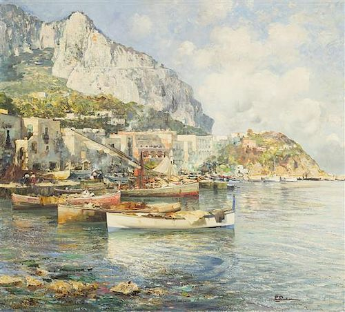 Attributed to Paolo Pratella, (Italian, b. 1892), Marina Grande, Capri