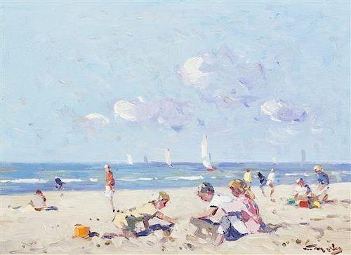 Niek van der Plas, (Dutch, b. 1954), Beach with Children