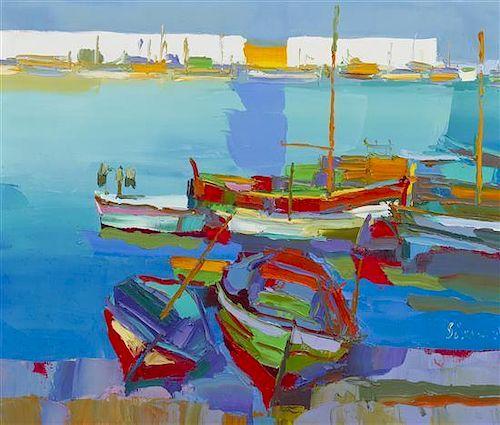 Nicola Simbari, (Italian, b. 1927), Harbor Scene