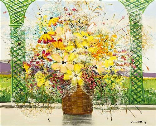 Michel-Henry, (French, b. 1928), Floral Still Life with Green Trellis