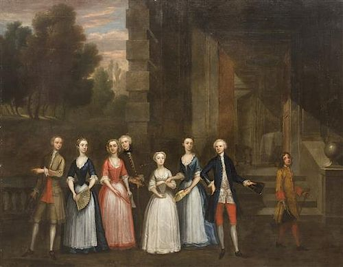 Charles Philips, (British, 1708-1748), The Fredrick Family, Standing on the Terrace of a Country House