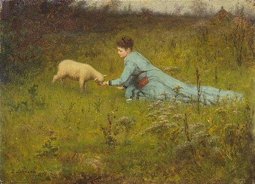 Eastman Johnson, (American, 1824-1906), The Pet Lamb, 1873
