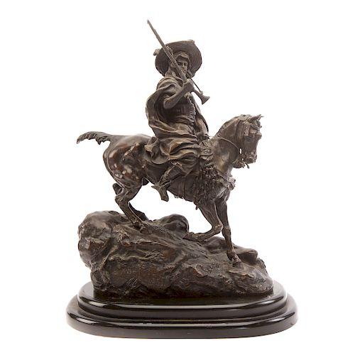 Lanceray. Arab Warrior on Horseback, Bronze