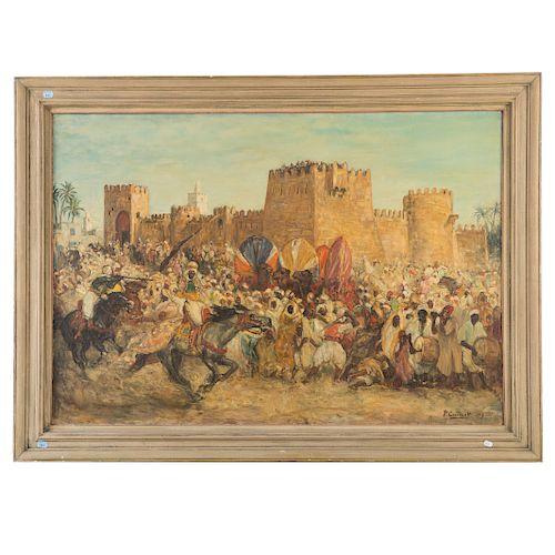Pierre Gourdault. Arab Battle Scene, Oil on Canvas