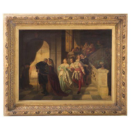 """Von Rustige. """"The Betrothal Dinner,"""" Oil on Canvas"""