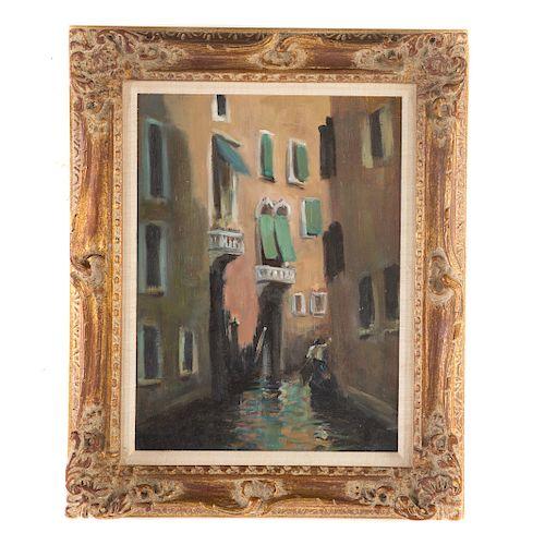 Takanori Oguiss. Venice Canal, Oil on Board