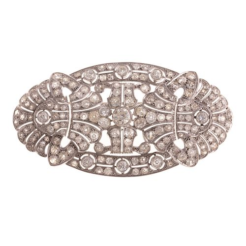 A Stunning Large Filigree Diamond Brooch in Gold
