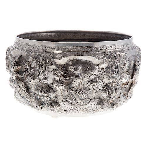 Thai Repousse Silver Offering Bowl
