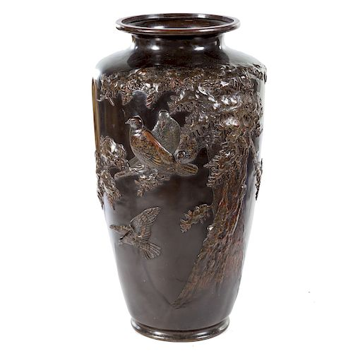 Large Japanese Bronze Relief Decorated Vase