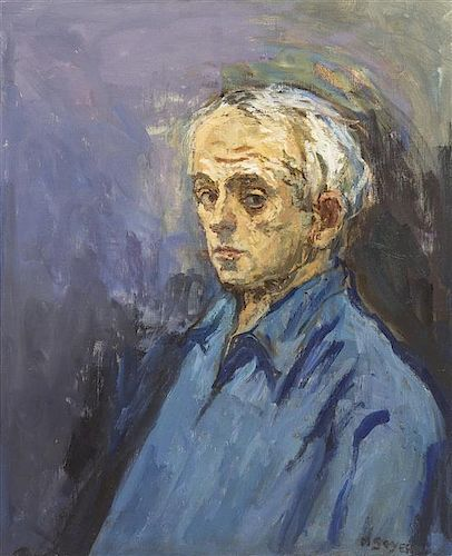 Moses Soyer, (American, 1899-1974), Self-Portrait in Blue