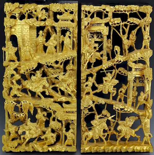 Pair Chinese Deep Gold Gilt Carved Wood Panels 19 By Hill