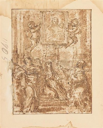 Pietro da Cortona, (Italian, 1596-1669), Saints with a Portrait of the Virgin and Child