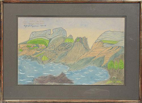 Joseph E. Yoakum (Am. 1888-1976) drawing, Three Sisters Mountain range near McKenzie Ridge