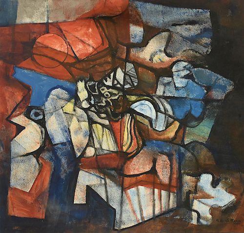 Roberto Burle Marx, 1988, large oil on fabric