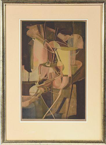 "Aquatint in colors, after Marcel Duchamp, ""Mariée"", etched by Jaques Villon"