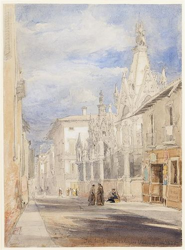 James Holland, (British, 1800-1870), The Tombs of Scaligeri, Verona, 1835