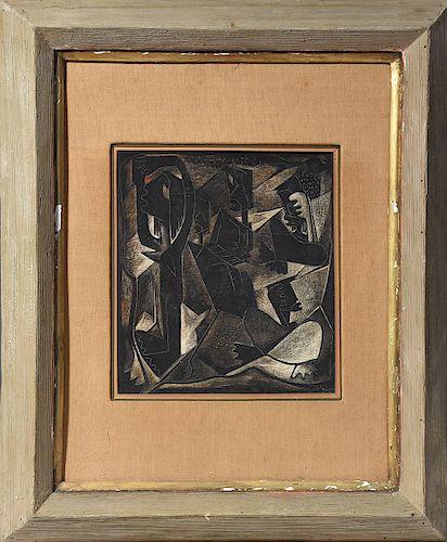 Oil on o board signed A. Botello '41 (Angel Botello, 1913 - 1986)
