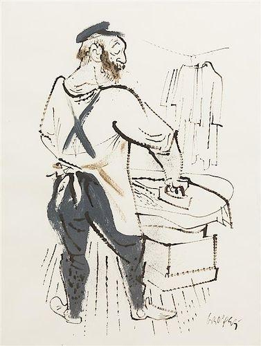 William Gropper, (American, 1897-1977), Man Ironing