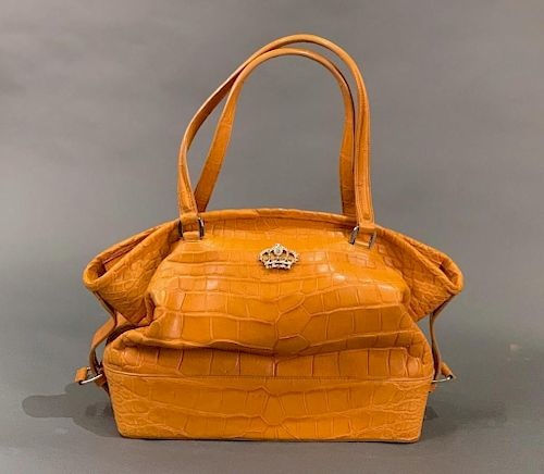 The Swan Collection Amber Alligator Skin Day Bag