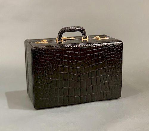 The Swan Collection Black Crocodile Vanity Case