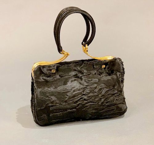 The Swan Collection Black Russian Broadtail Evening Bag