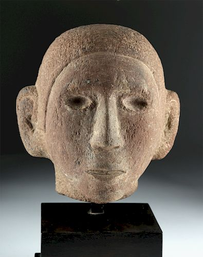 Fine aztec stone head of young man ex sothebys by artemis gallery