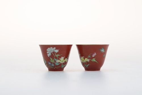 A PAIR OF CHINESE CORAL RED FLOWER BUTTERFLY GLAZED CUPS