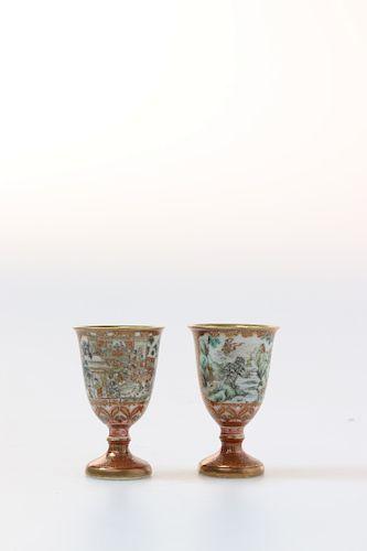 PAIR OF JAPANESE KUTANI WARE CUPS