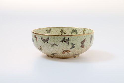 A JAPANESE SATSUMA BOWL WITH NETTED BUTTERFLIES