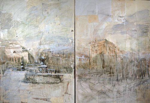 """Valerie Koshliakov (Koshlykova) (b.1962)  """"Bolshoi Theatre"""" mixed media canvas (Diptych)"""