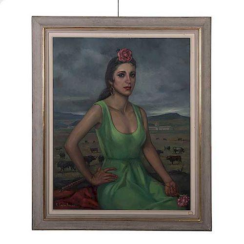 """Ramón Espino Barros. """"Dama con rosa y clavel"""". Firmado y fechado 1980 en la parte posterior. Óleo sobre tela. Enmarcado en madera."""