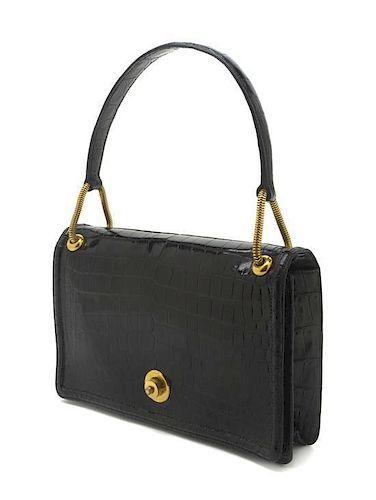 4df9fbee9c52 An Hermes Black Shiny Porosus Crocodile Piano Bag