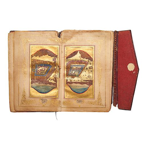 GROUP OF FOUR LEATHER-BOUND PERSIAN BOOKS
