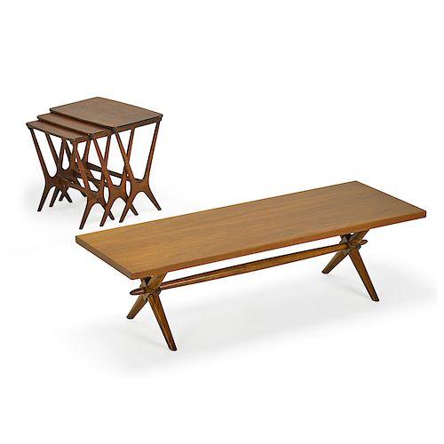 T.H. ROBSJOHN-GIBBINGS FOR WIDDICOMB COFFEE TABLE, ETC.