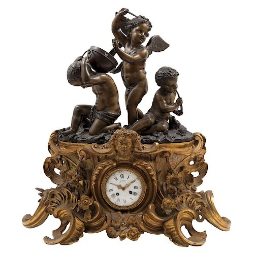A LOUIS XV STYLE CHIMNEY CLOCK. FRANCE, 19TH CENTURY.