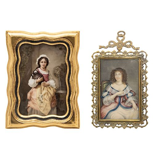 A PAIR OF MINIATURES: WATER CARRIER AND PORTRAIT OF A LADY. 19TH CENTURY.