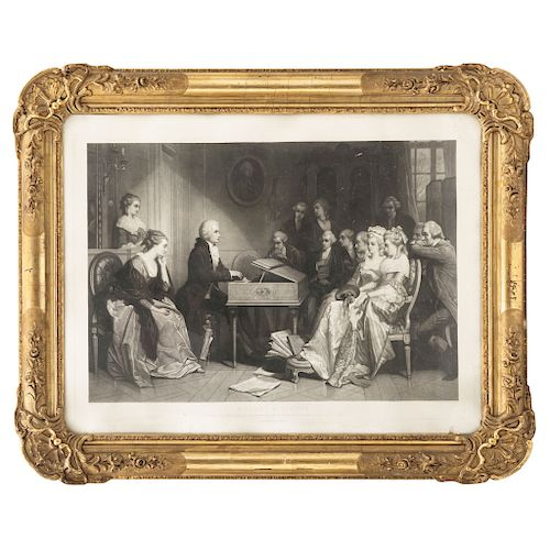 FOUR ENGRAVINGS OF MUSICIANS: MOZART IN VIENNA, GLUCK IN TRIANON, BEETHOVEN IN MOZART'S HOUSE,  THE LAST THOUGHT OF WEBER.