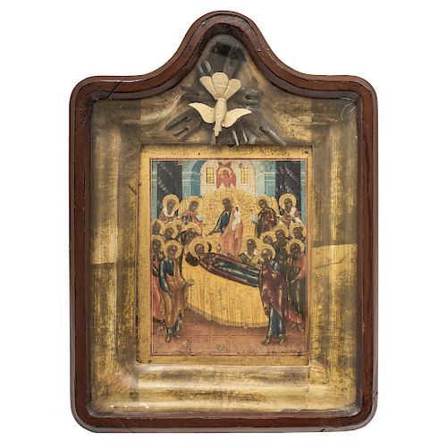 ICON: DORMITION OF THE MOTHER OF GOD. 19TH CENTURY.