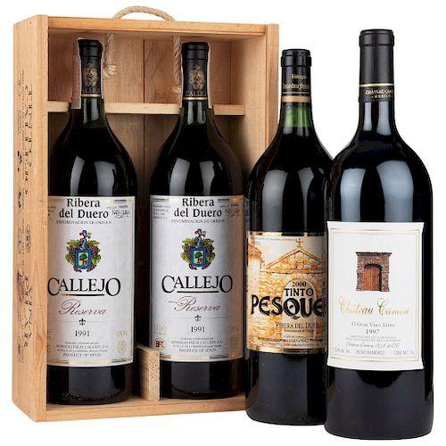 Vinos Tintos Mágnum. España y México. Callejo, Pesquera y Château Camou. Total de piezas: 4.