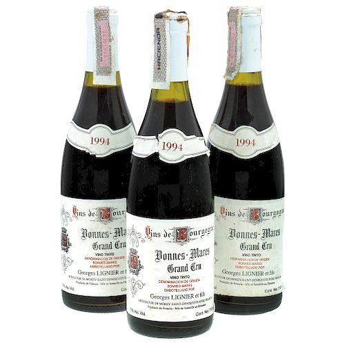 Bonnes - Mares. Cosecha 1994. Cote - d'Or. Grand Cru. Niveles: dos a 3 cm. y una a 3.5 cm. Piezas: 3.