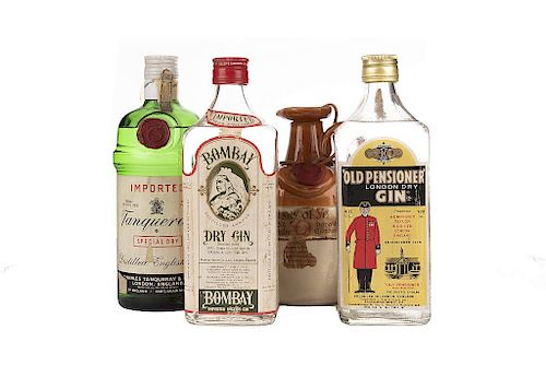 Ginebra / Whisky.  Bombay, Old Pensioner, Tanqueray y Ye Monks. Piezas 4.