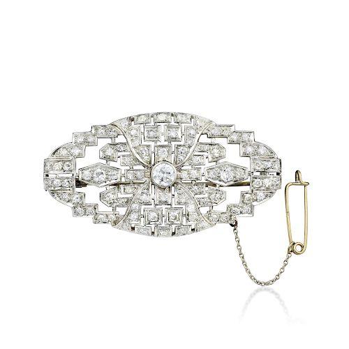 Art Deco Platinum Diamond Brooch by Fortuna Auction