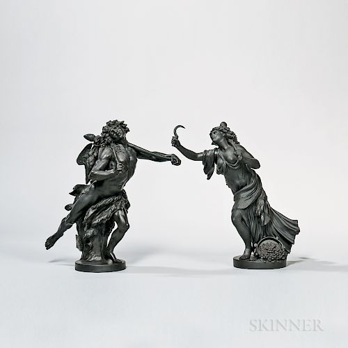 Pair of Wedgwood Black Basalt Faun and Bacchante Figures